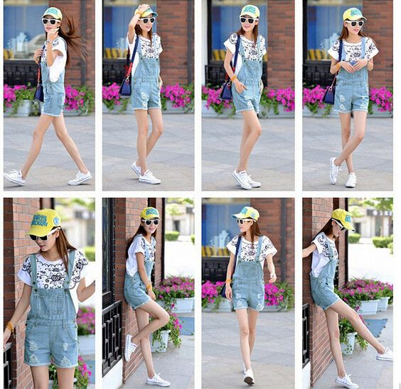 TFGS 2016 Fashion Girl Denim Rompers Strap Pockets Frayed Ripped Holes Overalls Rompers Womens Jumpsuit Shorts Jeans Light Blue