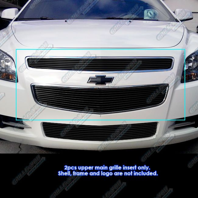 Fits 2008-2012 Chevy Malibu Black Billet Grille Grill Insert