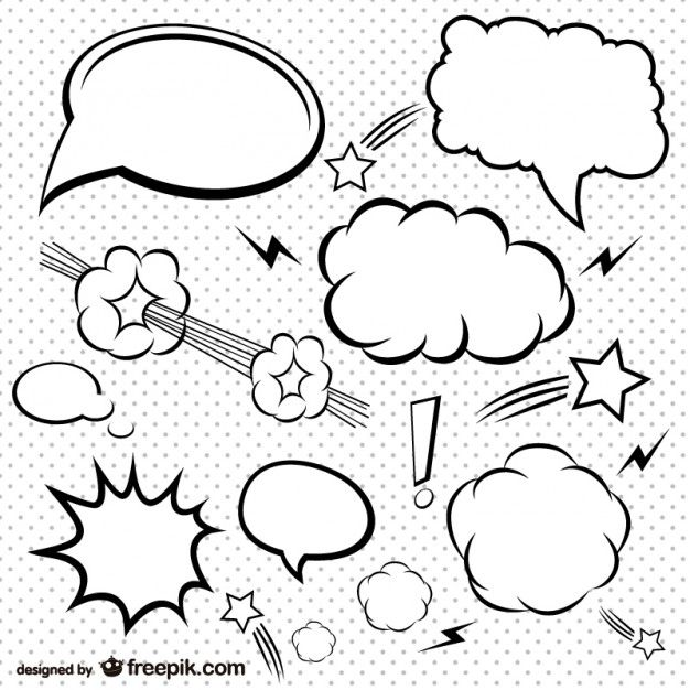 Simple Comic Bubbles Set Free Vector