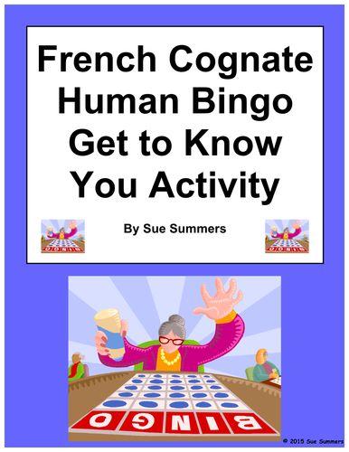 French Cognate Human Bingo Get to Know You Activity by Sue Summers on TES.com