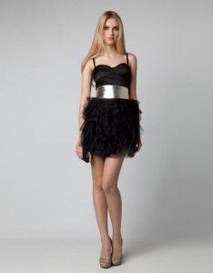 Bershka vestido falda volantes