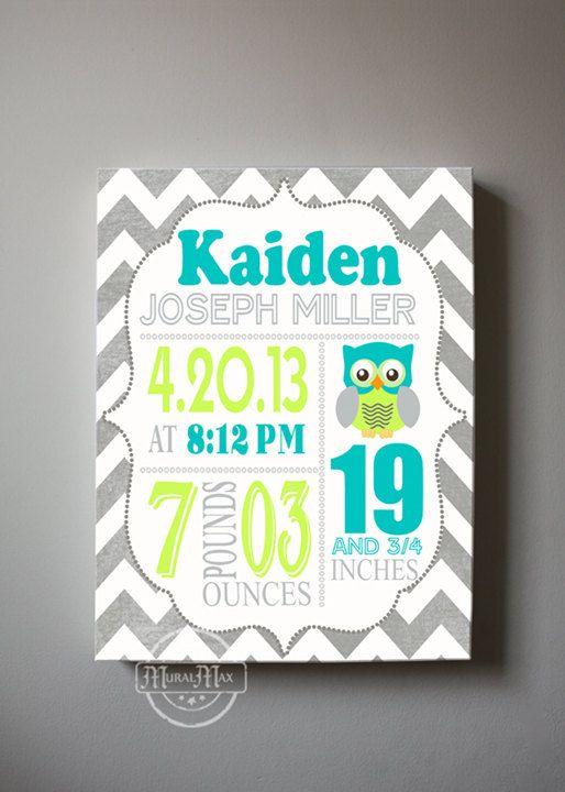 "Baby Birth Announcement Canvas Print 10"" x12"" ,Boys Nursery Canvas Art , Personalized Wall Hanging, Boys Room Decor, Owl on Etsy, $51.00"