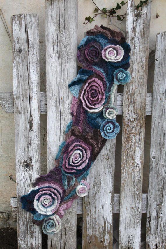 Crochet Scarf Freeform crochet roses Womens scarf Wedding