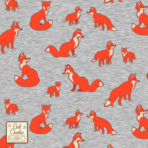 """Fox Family on Heather Gray Cotton Jersey Blend Knit Fabric - Different vintage style foxes in cherry tomato, black, light eggnog cream on our heather gray signature cotton jersey blend knit.  Fabric is light to medium weight with a nice stretch and fluid drape.  Largest fox measures 2 1/2"""" across.  Made in Los Angeles!  ::  $6.60"""
