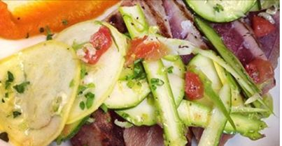 Wood fired rare tuna, beluga caviar lentils, shaved raw vegetable salad, organic carrot butter…