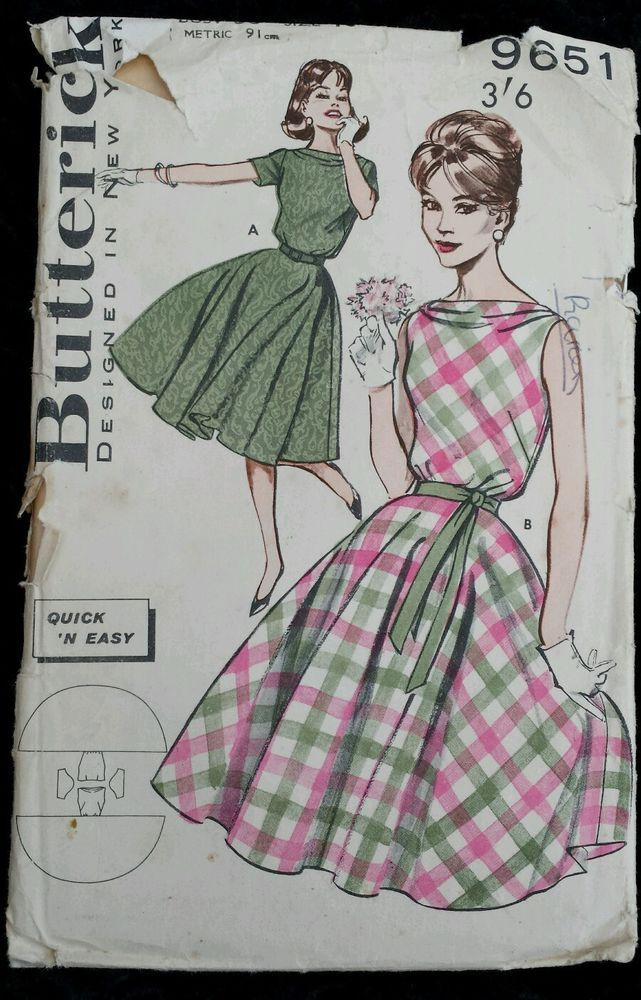 Vintage 1960s Sewing Pattern Butterick 9651 Circle Dress Bust 36  Complete