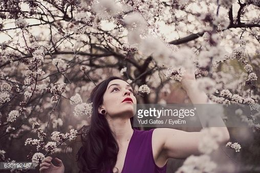 Stock Photo : Beautiful Young Woman Standing By Plum Blossoms