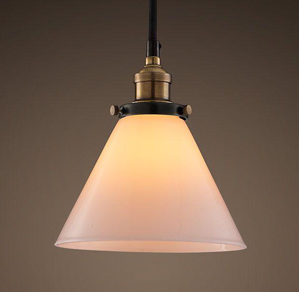 20th C. Factory Filament Milk Glass Funnel Pendant - Aged Steel restoration hardware 130 dia. x 19 $119