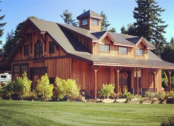 Barn pros denali 60 barn in oregon with rv bay shop and for Log barn homes