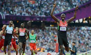 Kenya's David Rudisha winning the 800m final at the London 2012 Olympic Games