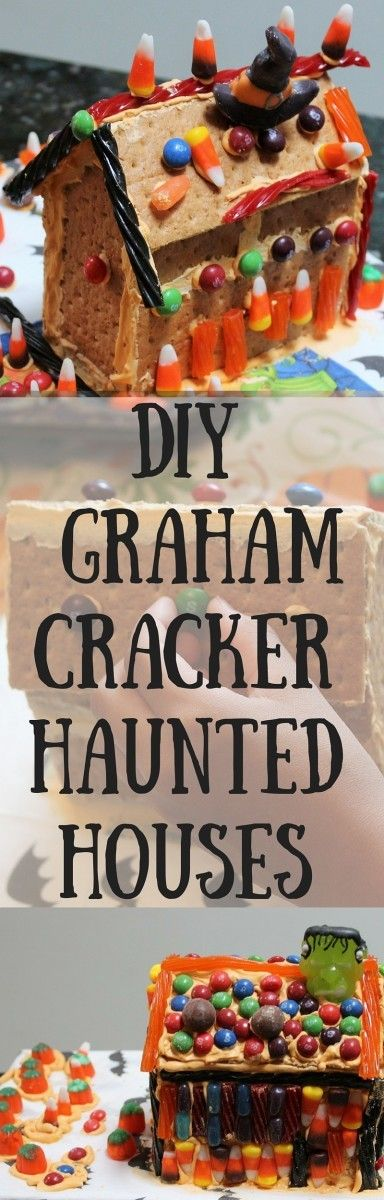 DIY Graham Cracker Haunted House an endlessly creative Halloween craft to do with kids! By HomemadeFoodJunkie.com