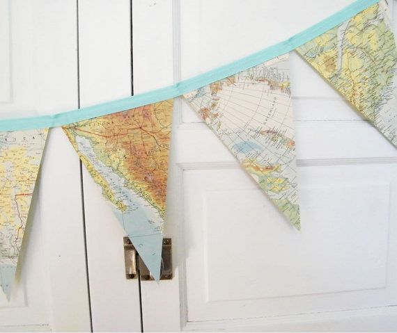 Vintage World Map Bunting Banner, a repurposed vintage atlas garland, photography prop