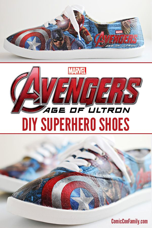 DIY Superhero Shoes - Learn how to make your own Marvel Avengers: Age of Ultron shoes with party napkins and Mod Podge! #ad #avengersunite - visit to grab an unforgettable cool 3D Super Hero T-Shirt!