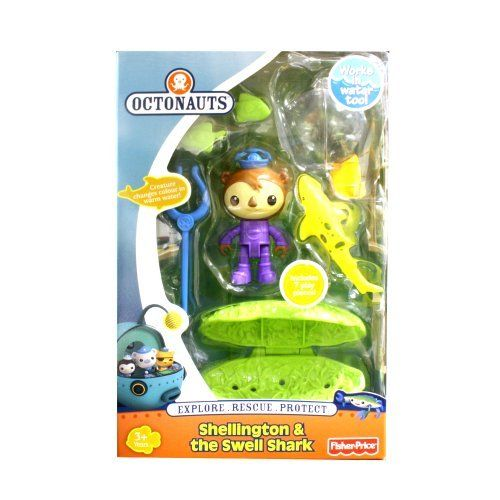 Fisher-Price Disney's Octonauts Shellington and The Swell Shark Playset by Fisher-Price. $29.99. Kelp net sinks to the bottom and opens to release the Swell Shark. Includes 7 play pieces. Attach Kelp fish. Swell Shark squirts water and changes colour in warm water. Ages 3+ years. From the Manufacturer                The Octonauts action figure rescue assortment is complete with your favorite Octonaut figures, animals and rescue tools!