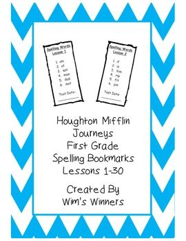 This document lists spelling words for all 30 lessons in the Houghton Mifflin Journeys reading series for first grade.  These are great to send home with parents, and are also small enough that they could be used in a spelling word ring.  Each list also has a line for you to write the test date.