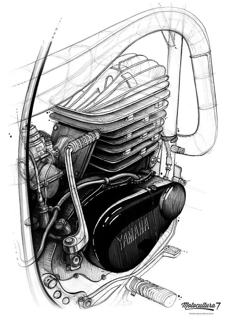 Vintage enduro Yamaha DT 250 1975 engine drawing Motocultura7