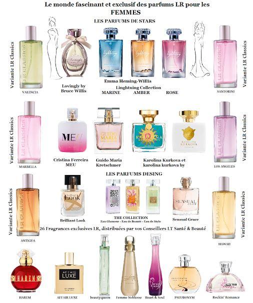 A LA DÉCOUVERTE DES 26 PARFUMS POUR LES FEMMES . Les parfums LR Health & Beauty, c'est une expérience de plus de 30 ans, une haute concentration d'essence de parfum, une collaboration avec des stars internationales. Faite confiance à vos Conseillers Indépendants LT Santé & Beauté pour découvrir cet univers de fragrances LR