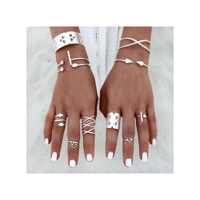 Neworldline 6pcs/Set Women Bohemian Vintage Silver Stack Rings Above Knuckle Blue Rings Set-Silver | Buy online | Jumia Kenya
