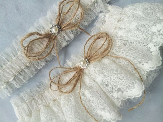 Elegant And Rustic Twine Lace Tulle Wedding Bridal Garter Set Also Perfect For The
