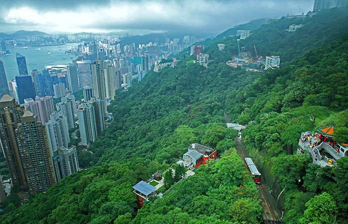 The great green heights of Hong Kong and the Peak Tram.