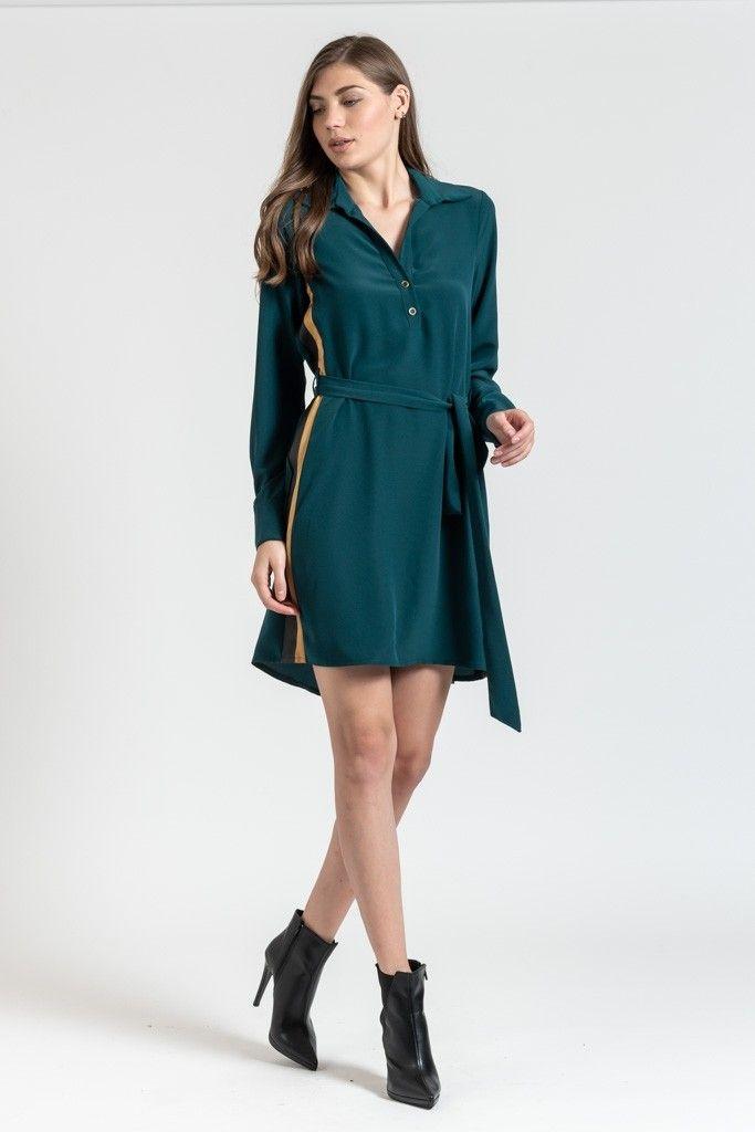 fdbea16bea18 Μινι πουκαμισο-φορεμα με ριγα στο πλαι