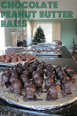 The Olsen Family: Yummy Treats  Chocolate Peanut Butter Balls  My mother in law used to make these every year for Christmas.  Everyone was anxious for her arrival as they were soooo good!