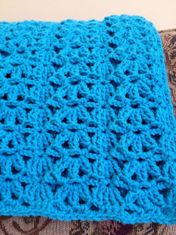 Crocheted Blue Afghan Turquoise Lap Throw Aqua Comforter