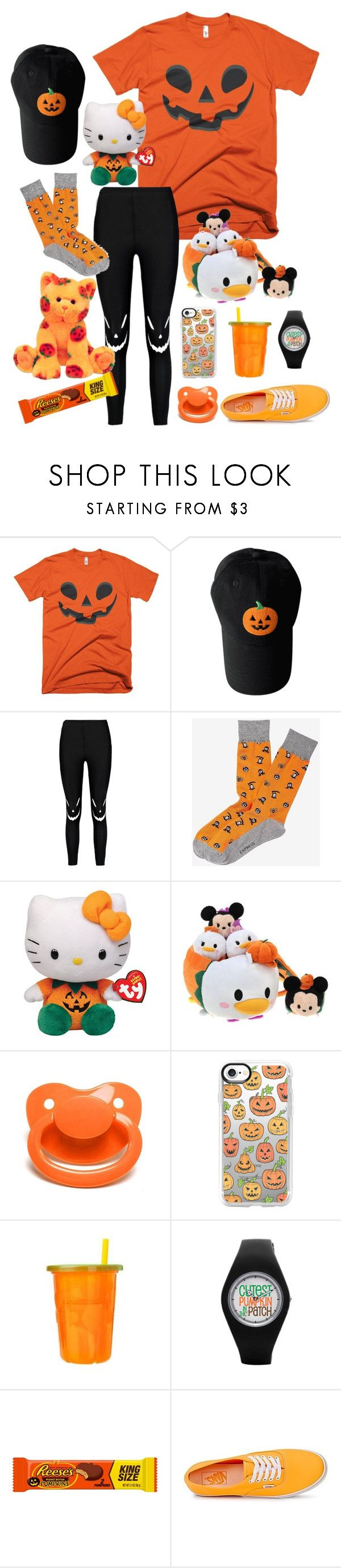 """pumpkin baby"" by puffydinosaurs ❤ liked on Polyvore featuring Boohoo, Express, Hello Kitty, Disney, Casetify, The First Years and Vans"