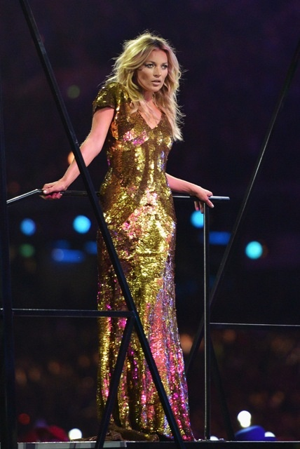 British supermodel Kate Moss during the Closing Ceremony of the London 2012 Olympic Games