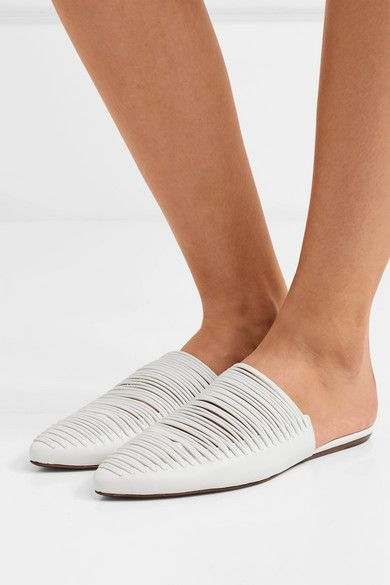d301adf1cd1c Tory Burch - Sienna Woven Leather Slippers - White