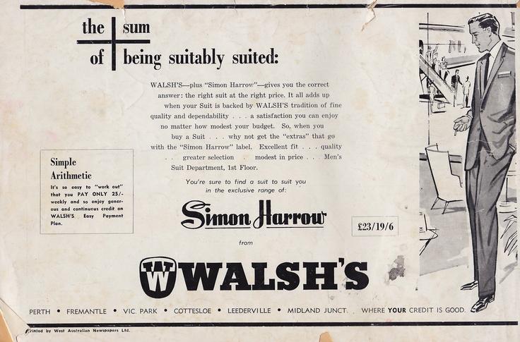 Advert Walsh's Perth menswear store 1960
