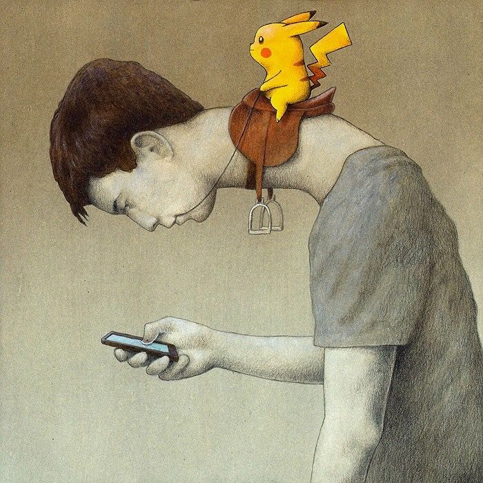 Pokemon - satirical illustrations by Pawel Kuczynski - look what technology is doing to our necks, our health