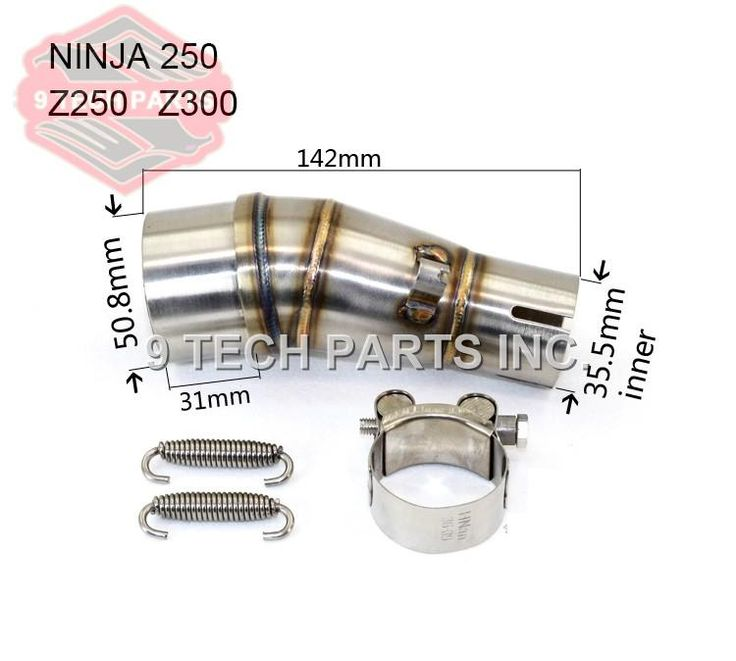 [Visit to Buy] Motorcycle Exhaust middle pipe stainless steel Muffler link pipe middle section adapter pipe for kawasaki Ninja 250R Z250 Z300 #Advertisement