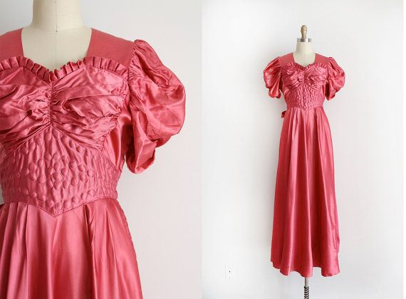 vintage 1930s gown // 30s pink evening gown