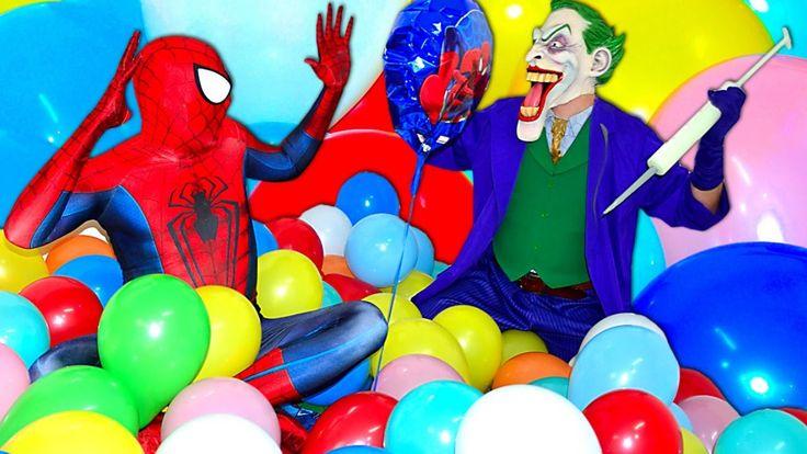 Spiderman BALLOONS SHOP! JOKER Frozen Elsa Sumo Battle Funny Superheroes...