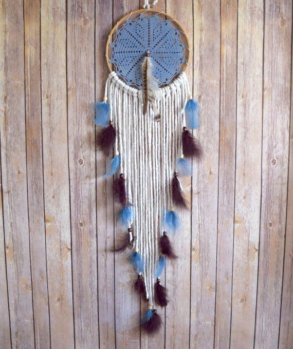 Gran sueño Catcher - colgante de pared - atrapasueños azul - inspiró a americano nativo - vivero atrapasueños - Boho Deco - uno de una clase