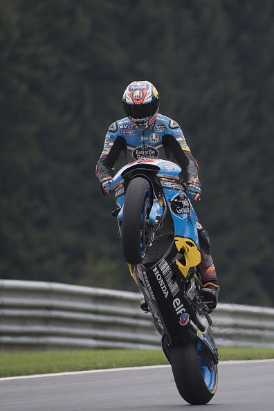 Jack Miller of Australia and Marc VDS Racing Team lifts the front wheel during…