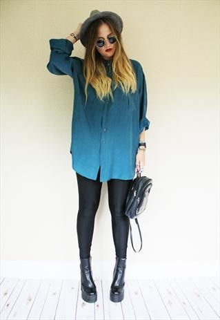 Vintage 90s Retro Teal Green Dark Silk Long Sleeve Shirt from The Wise Hippy