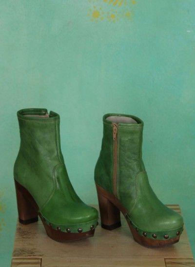 Grünbein Schuhe Isabell grun highheel boots green laarzen hoge hakken groen