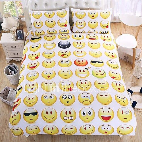 Hot Sale Emoji Bedding Set Interesting and Fashion Duvet Cover for Young People New Year Bed Sheets 3Pcs Twin Full Queen 2017 - $44.09
