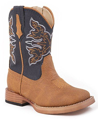 Roper Baby Boys' Navy Cowboy Boot Tan US. Variation: Size(5 D(M) US Baby Boys). Size: 5 D(M) US Baby-Boys. 5 M US Toddler. Let your little one kick up their heels in these Roper cowboy boots These boots features a tan faux leather foot under a fancy stitched navy blue faux leather shaft. Fabric lining. Modern square toe profile. Double stitched welt. Imported. Comfy cushioned footbed. Tan And White Fancy Stitched Pattern Stands Out On Navy Blue Shaft.