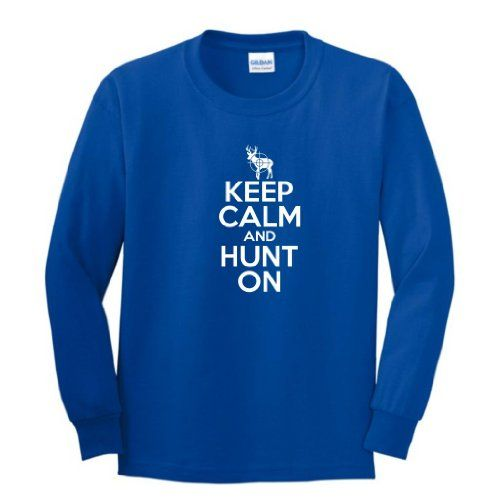Keep Calm and Hunt On Youth Long Sleeve T-Shirt Medium Royal
