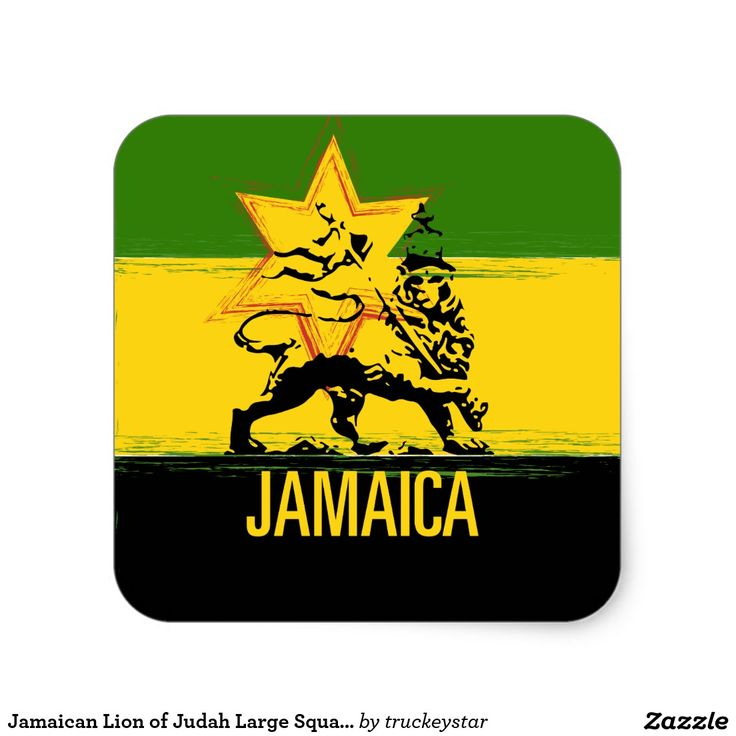 Jamaican lion of judah large square sticker