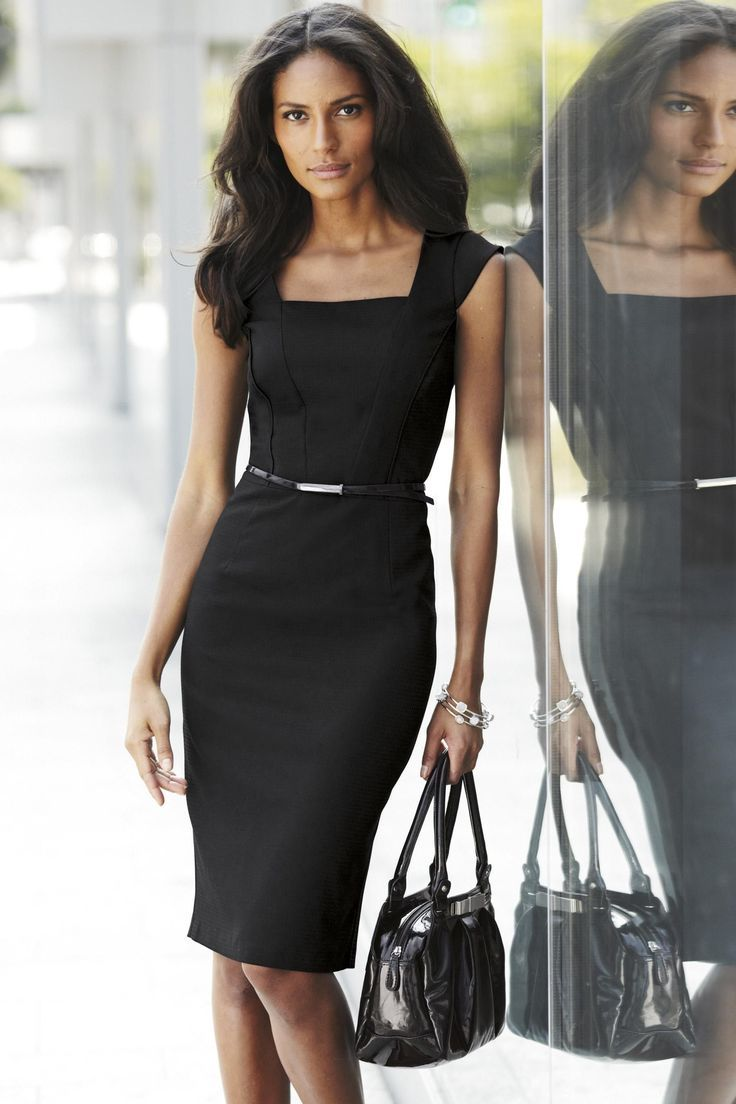 black dress and belt. Look sexy without baring too much skin!