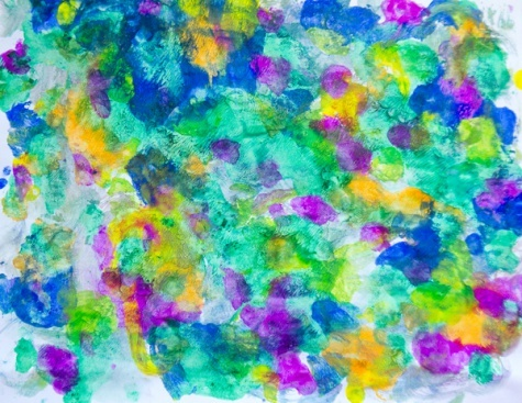 monet  Dab paints onto sheet of paper. Brush with water and place another sheet on the top. Voila!