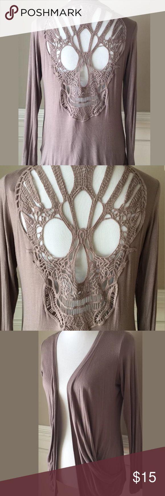 Zinga Skull Crochet Open Front Cardigan Size S Zinga Women Thin Knit Open Front Cardigan Skull Design On Back pockets Size S zinga Sweaters