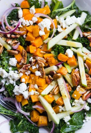 Salad - healthy kale greens with roasted butternut squash and tart ...