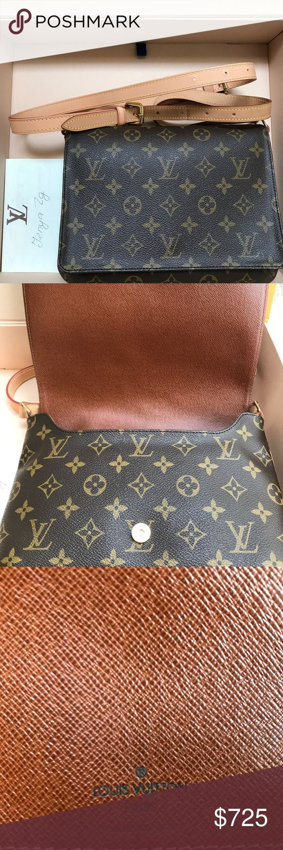 "Authentic Louis Vuitton Musette Tango Crossbody Excellent condition! Extra piece of strap thats non LV is added for crossbody option, blends in very well, NO TRADES sorry. 630$ on p. Will also include a non lv 47"" chain for dressier look Louis Vuitton Bags Crossbody Bags"