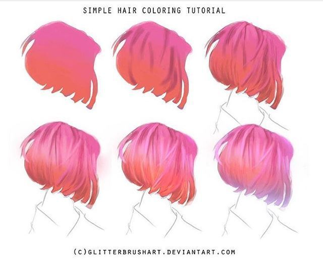 Simple Hair Coloring Tutorial Drawing Hair Tutorial Digital Painting Tutorials Digital Art Tutorial