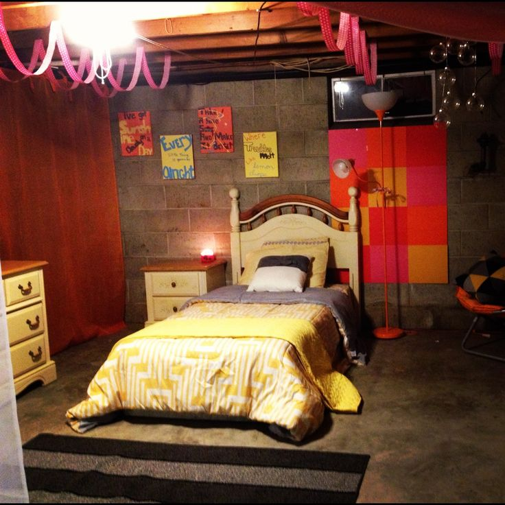 Basement bedroom - Cool idea for those who can't afford to remodel their basement, but need to put a bedroom down there.